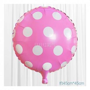 粉紅色 18英寸波點鋁箔氣球