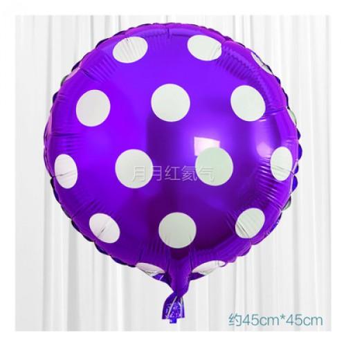 紫色 18英寸波點鋁箔氣球