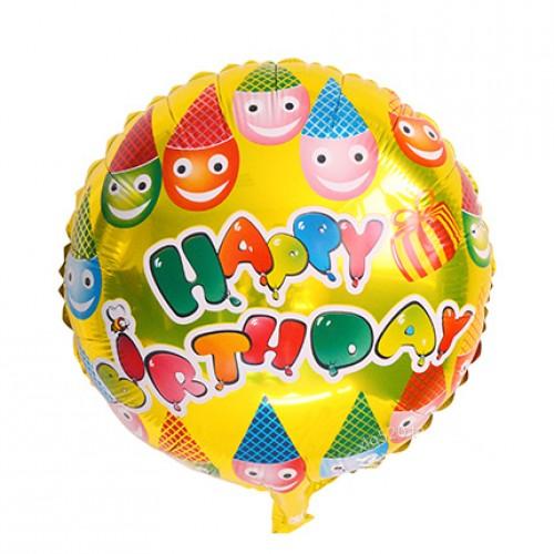 18寸生日鋁箔氣球 生日帽笑臉