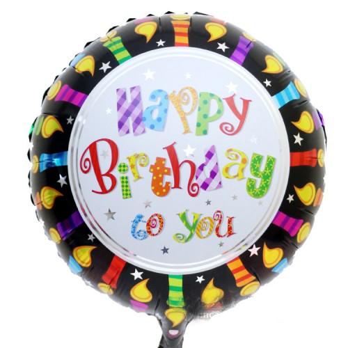 18寸生日鋁箔氣球 圓形黑邊