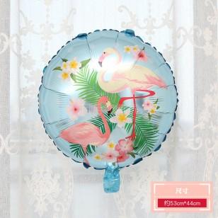 18寸圓形火烈鳥鋁膜氣球  藍色