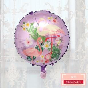 18寸圓形火烈鳥鋁膜氣球  紫色