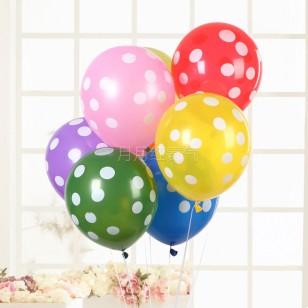 12寸加厚 糖果色波點乳膠氣球 粉紅白點款