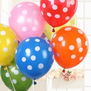 12寸加厚 糖果色波點乳膠氣球 綠色白點款