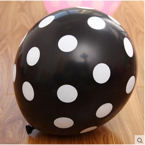 12寸加厚 糖果色波點乳膠氣球 黑色白點款