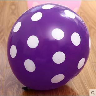 12寸加厚 糖果色波點乳膠氣球 紫色白點款