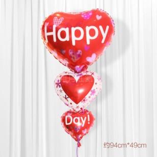 結婚鋁箔氦氣球創意串串心 HAPPY款