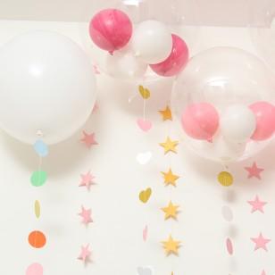卡紙拉花串 情人節生日派對櫥窗裝飾吊墜 粉色星星小號