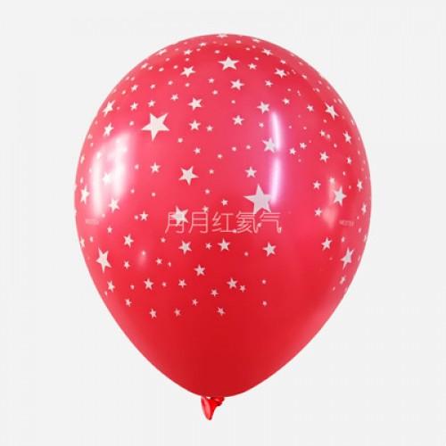 韓國12寸滿天星乳膠氣球滿印星星 大紅色
