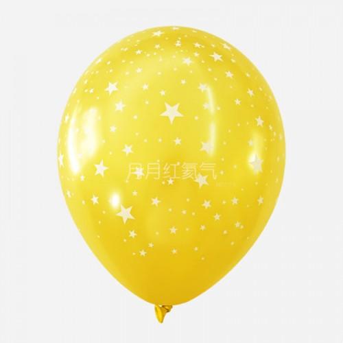 韓國12寸滿天星乳膠氣球滿印星星 黃色