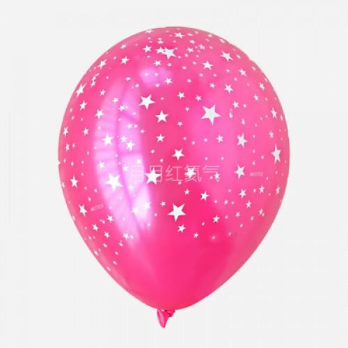 韓國12寸滿天星乳膠氣球滿印星星 玫紅色