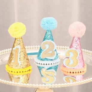 銀色亮片生日帽 + 數字選擇
