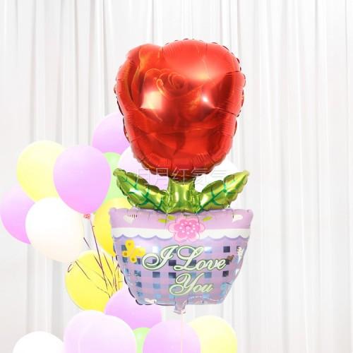 大號玫瑰花盆鋁膜氣球
