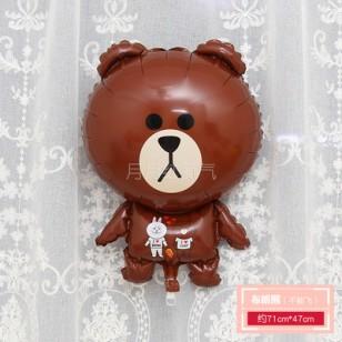 孩童卡通動物小鋁箔氣球 不能飛  全身布朗熊