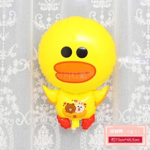 孩童卡通動物小鋁箔氣球 不能飛  全身莎莉鴨