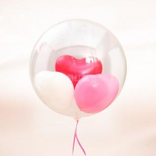 16英寸雙層愛心透明球中球