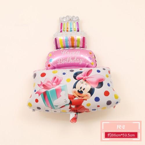 三層生日蛋糕鋁膜氣球 三層蛋糕米奇粉色