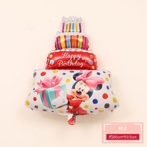 三層生日蛋糕鋁膜氣球 三層蛋糕大紅