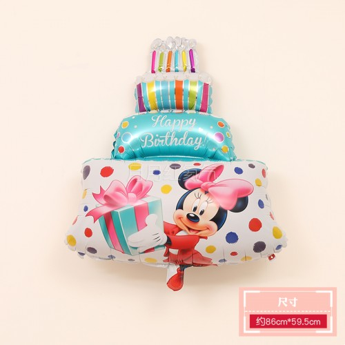 三層生日蛋糕鋁膜氣球 三層蛋糕米奇藍色