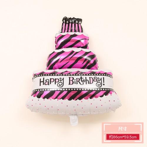 三層生日蛋糕鋁膜氣球 三層蛋糕玫紅