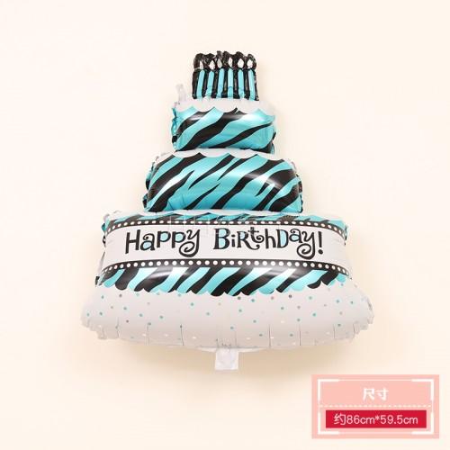 三層生日蛋糕鋁膜氣球 三層蛋糕藍色