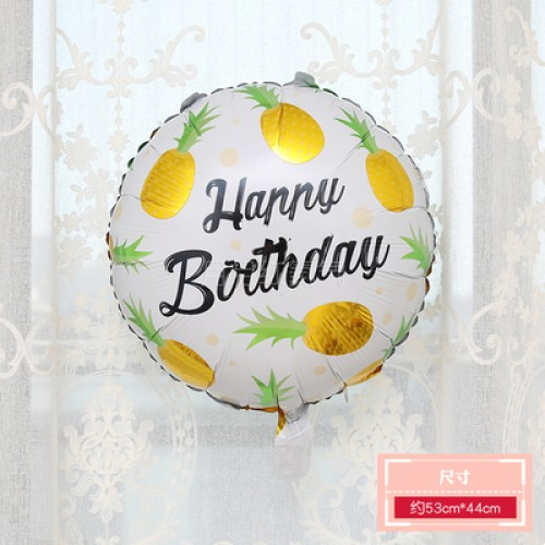 卡通水果鋁膜氣球 18寸圓形菠蘿黃色