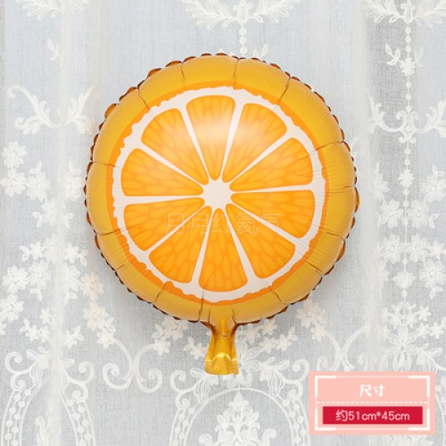 卡通水果鋁膜氣球 18寸圓形橙子