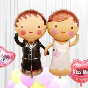 新款婚禮結婚婚房布置鋁箔氣球 Q版新娘