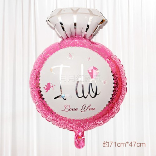新款鑽石結婚婚房布置鋁箔氣球 鉆石粉色