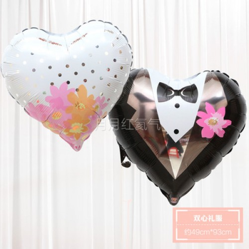 新款婚禮結婚婚房布置鋁箔氣球 雙心禮服