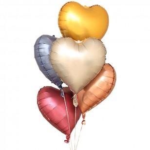 啞光金色 霧面金屬色愛心形鋁膜氣球 婚禮佈置生日派對