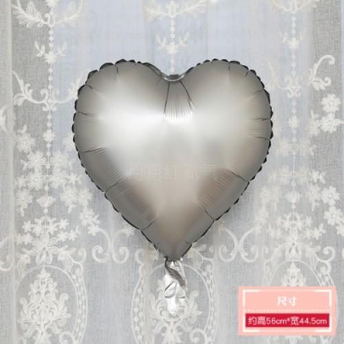 啞光銀色 霧面金屬色愛心形鋁膜氣球 婚禮佈置生日派對