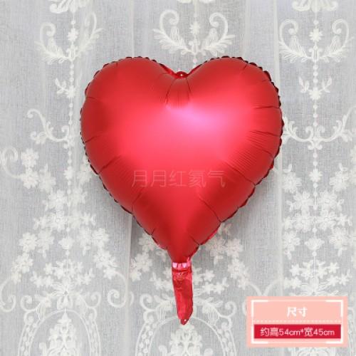 啞光大紅色 霧面金屬色愛心形鋁膜氣球 婚禮佈置生日派對