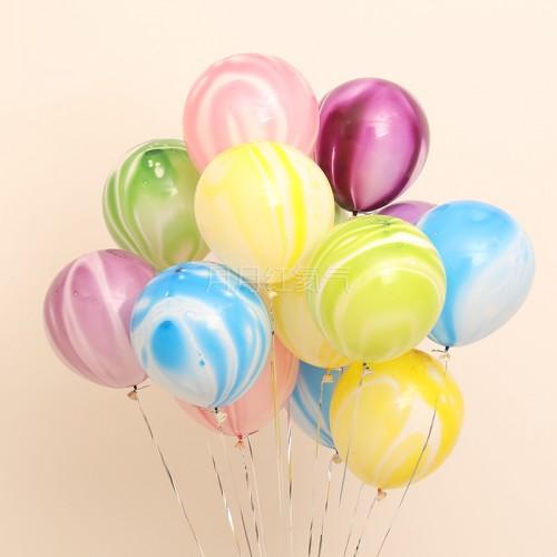 12英寸雲紋瑪瑙紋乳膠氣球 混色20個一組
