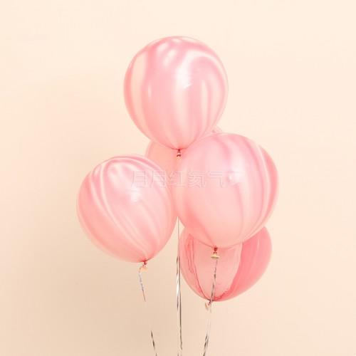 12英寸雲紋瑪瑙紋乳膠氣球 粉雲20個一組