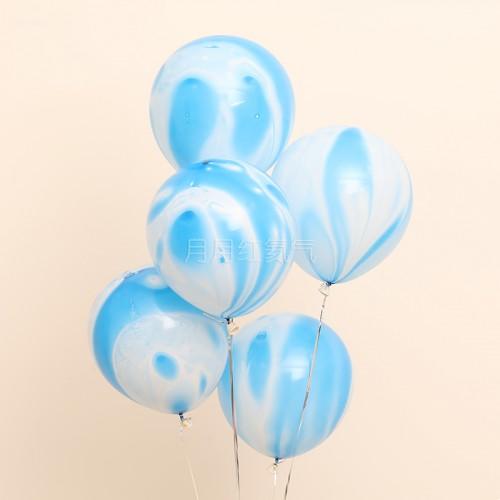 12英寸雲紋瑪瑙紋乳膠氣球 藍雲20個一組