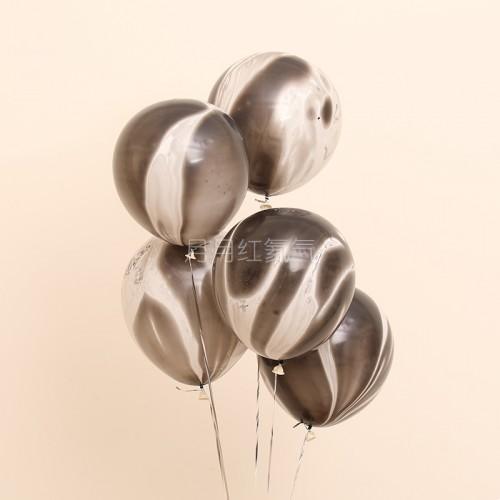 12英寸雲紋瑪瑙紋乳膠氣球 黑雲20個一組