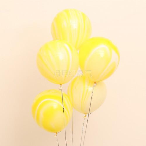 12英寸雲紋瑪瑙紋乳膠氣球 黃雲20個一組