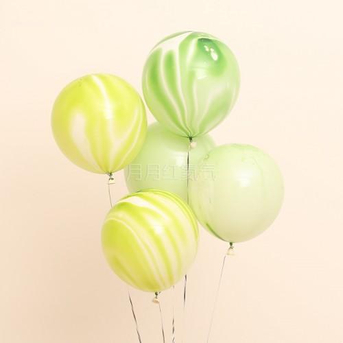 12英寸雲紋瑪瑙紋乳膠氣球 綠雲20個一組